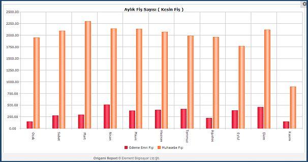 muhasebe aylık fiş sayıları grafik rapor